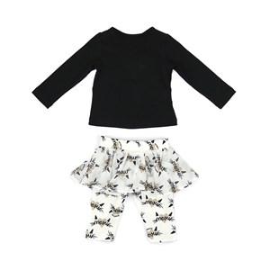 Conjunto Feminino Infantil / Baby Blusa Em Coton Alquimia Com Patch De Coração + Calça - Saia Em Mol