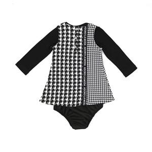 Conjunto Feminino Infantil / Baby  Blusa Em Cotton Alquimia + Vestido Em Jacquard Xadrez Com Detalhe
