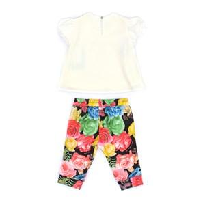 Conjunto Feminino Infantil / Baby Blusa Em Crepe Com Lycra Com Estampa Frontal + Calça Em Moletinho Preto