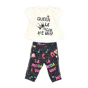 Conjunto Feminino Infantil / Baby Blusa Em Crepe Com Lycra Com Estampa Frontal + Calça Em Moletinho Marinho