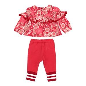 Conjunto Feminino Infantil / Baby Blusa Em Crepe Com Lycra Estampado + Calça Em Moletinho De Poliest