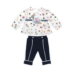 Conjunto Feminino Infantil / Baby Blusa Em Crepe Com Lycra Estampado + Calça Em Moletinho De Poliest Marinho