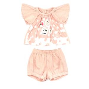 Conjunto Feminino Infantil / Baby Blusa Em Malha De Poliester Com Lycra Com Estampa Frontal + Short Rosa Claro