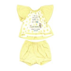 Conjunto Feminino Infantil / Baby Blusa Em Malha De Poliester Com Lycra Com Estampa Frontal + Short Amarelo Canario