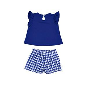 Conjunto Feminino Infantil / Baby Blusa Em Meia Malha Penteada Com Estampa Frontal + Short Em Neopre
