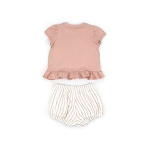 Conjunto Feminino Infantil / Baby Blusa Em Meia Malha Penteada Com Patch De Bicho + Short Em Moletin Rosa Claro