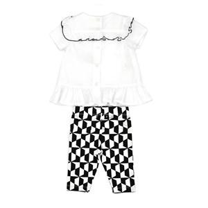 Conjunto Feminino Infantil / Baby  Blusa Em Tricoline Galles + Calça Em Malha Modal Suede Estampado