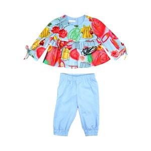 Conjunto Feminino Infantil / Baby Blusa Em Tricoline Galles Estampado + Calça Em Tricoline Galles -