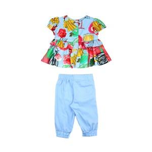 Conjunto Feminino Infantil / Baby Blusa Em Tricoline Galles Estampado + Calça Em Tricoline Galles - Azul Claro
