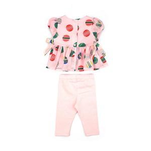 Conjunto Feminino Infantil / Baby Blusa Em Voal Estampado + Calça Em Cotton - Um Mais Um Rosa Claro