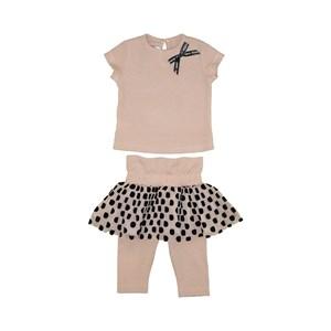 Conjunto Feminino Infantil / Baby Blusa Mana Curta + Calça-Saia Em Canelado De Viscose E Tule - 1+1 Nude