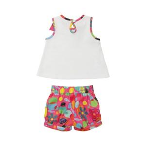 Conjunto Feminino Infantil / Baby Blusa + Short Em Malha Com Bolinhas Alto Relevo E Viscose Lisa - U Goiaba