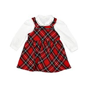 Conjunto Feminino Infantil / Baby Camisa Em Tricoline Galles Com Detalhe De Bordado Na Gola + Jardin Vermelho