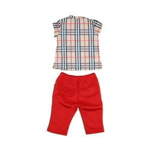 Conjunto Feminino Infantil / Baby Com Blusa Manga Curta + Calça Em Neoprene E Malha Com Lycra - 1+1 Vermelho