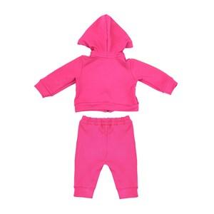 Conjunto Feminino Infantil / Baby Em Moletinho De Viscose Com Lycra E Patch De Flor - Um Mais Um Pink