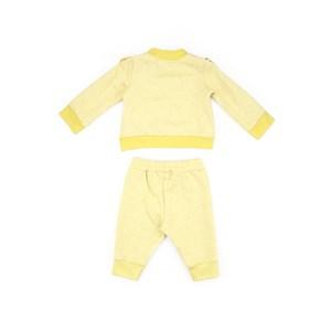Conjunto Feminino Infantil / Baby Em Moletom Com Linho Sem Felpa Com Estampa Frontal - Um Mais Um Amarelo Canario