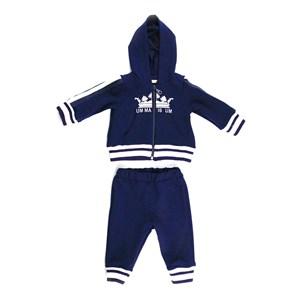 Conjunto Feminino Infantil / Baby Jaqueta Com Capuz + Calça Em Moletinho Viscose Com Lycra - 1+1 Marinho