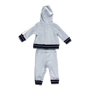 Conjunto Feminino Infantil / Baby Jaqueta Com Capuz + Calça Em Moletinho Viscose Com Lycra - 1+1 Mescla Claro