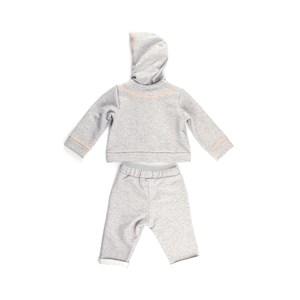 Conjunto Feminino Infantil / Baby Moletom Com Capuz + Calça Em Moletom Sem Felpa - 1+1 Mescla Medio