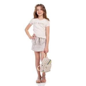 Conjunto Feminino Infantil Blusa Com Aplique De Strass + Short-Saia Xadrez Bege Claro