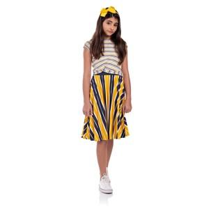 Conjunto Feminino Infantil Blusa Com Saia Plissada Amarelo Canario