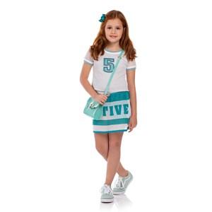 Conjunto Feminino Infantil Blusa Com Short Saia Em Tela Rosa Claro