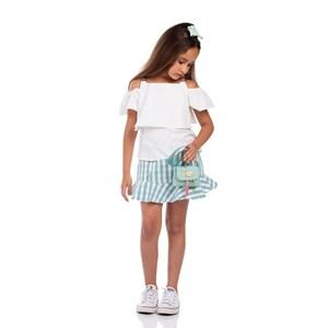 Conjunto Feminino Infantil Blusa De Babados Com Alças Duplas E Argola  + Saia Xadrez Verde