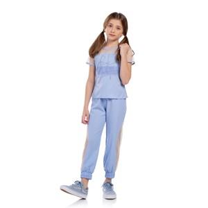Conjunto Feminino Infantil Blusa De Tela E Calça Com Cós E Punho Azul Claro