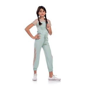 Conjunto Feminino Infantil Blusa De Tela E Calça Com Cós E Punho Verde