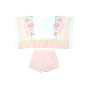 Conjunto Feminino Infantil Blusa Estilo Túnica + Short Nude