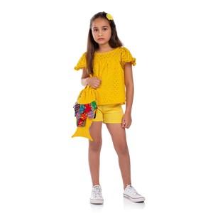 Conjunto Feminino Infantil Blusa Forma Com Manga Sino E Short Amarelo Canario