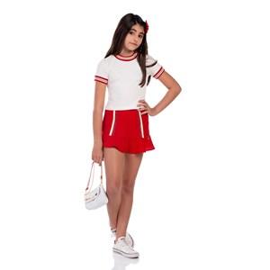 Conjunto Feminino Infantil Blusa + Saia Com Babado Vermelho