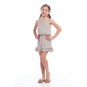 Conjunto Feminino Infantil Cropped De Alcinha + Saia De Babados Azul