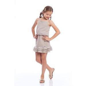 Conjunto Feminino Infantil Cropped De Alcinha + Saia De Babados Caqui