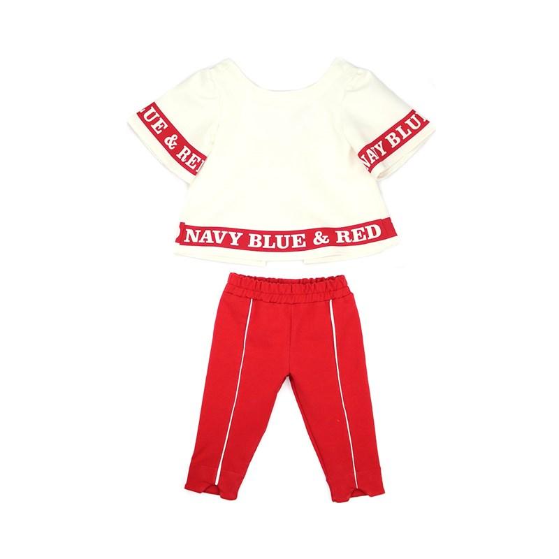 Conjunto Feminino Infantil / Kids Bata Em Alfaiataria Diagonal Com Lycra + Calça Em Moletinho Com Ly Vermelho
