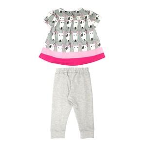 Conjunto Feminino Infantil / Kids Bata Em Cetim Zibeline Estampado + Calça Em Moletinho Viscose Com