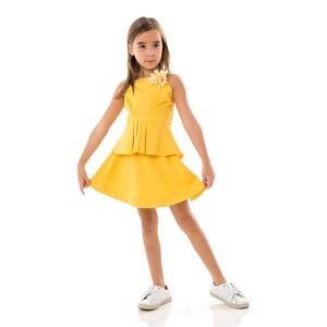 Conjunto Feminino Infantil / Kids Bata + Saia Em Crepe Com Lycra E Crepe Chine - Um Mais Um Amarelo Canario