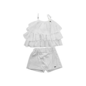 Conjunto Feminino Infantil / Kids Bata + Short Em Chion Liso E Moletinho Viscose - Um Mais Um Branco