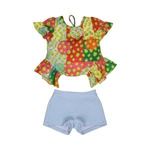 Conjunto Feminino Infantil / Kids Bata + Short Em Crepe Donna E Neoprene Creponada - Um Mais Um Azul Claro
