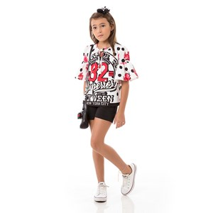 Conjunto Feminino Infantil / Kids Bata + Short Em Neoprene Importado E Crepe Com Lycra - Um Mais Um