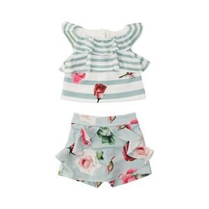 Conjunto Feminino Infantil / Kids Bata + Short-Saia Em Malha Creponada Off White - Um Mais Um Verde