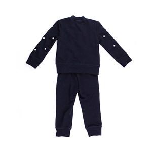 Conjunto Feminino Infantil / Kids Blusa + Calça Em Entretela Com Rebites De Perola E Moletinho Polie Preto