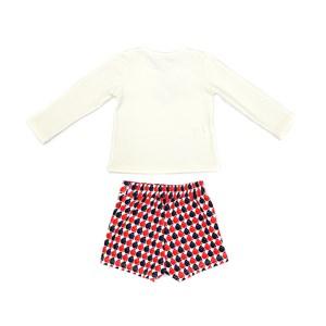 Conjunto Feminino Infantil / Kids Blusa Cotton Alquimia Com Estampa Frontal + Short Em Neoprene Leve