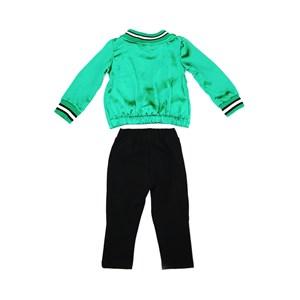 Conjunto Feminino Infantil / Kids Blusa Em Cetim Com Elastano E Estampa Frontal + Calça Em Malha Lã Preto