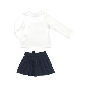Conjunto Feminino Infantil / Kids Blusa Em Cotton Alquimia Com Estampa Frontal + Saia - Short Em Tri Marinho