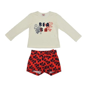 Conjunto Feminino Infantil / Kids Blusa Em Cotton Alquimia Com Estampa Frontal + Short Em Alfaiatari Vermelho