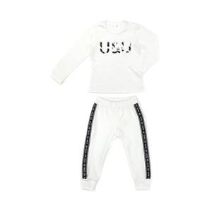 Conjunto Feminino Infantil / Kids Blusa Em Cotton Alquimia Com Patch U & U + Calça Em Moletinho De P Cru
