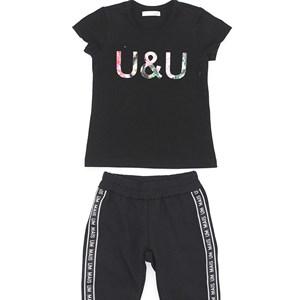 Conjunto Feminino Infantil / Kids Blusa Em Cotton Alquimia Com Patch U & U + Calça Em Moletinho De P Preto