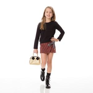 Conjunto Feminino Infantil / Kids Blusa Em Cotton Alquimia + Short - Saia Em Jacquard Com Losangos E Terra