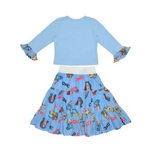 Conjunto Feminino Infantil / Kids Blusa Em Cotton Lux Premium Com Patchs + Saia Em Voal De Poliester Azul Claro